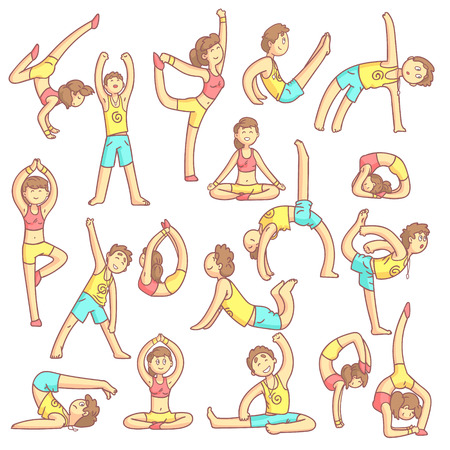 twists: Couple Doing Yoga Poses Set Of Flat Outlined Pale Color Funny Drawings Isolated On White Background