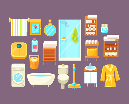 bath gown: Bathroom Interior Elements Set Of Bright Color Simplified Style Vector Icons Isolated On Purple Background