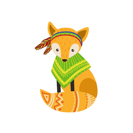 poncho: Fox Wearing Tribal Poncho Colorful Flat Isolated Icon In Cool Detailed Artistic Design Isolated On White Background