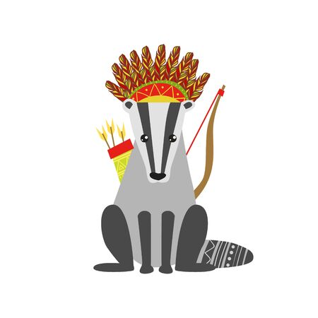 badger: Badger Wearing Tribal Clothing  Colorful Flat Isolated Icon In Cool Detailed Artistic Design Isolated On White Background