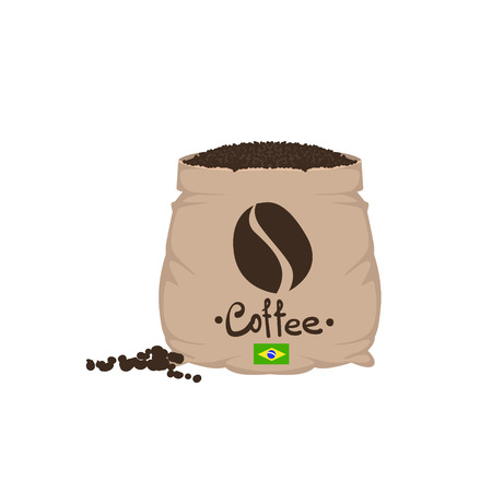coffee sack: Brazilian Coffee Beans In A Sack Flat Isolated Colorful Vector Design Illustration On White Background Illustration