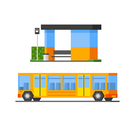 bus station: Bus And Public Bus Station Vector Design Simple Graphic Illustration On White Background