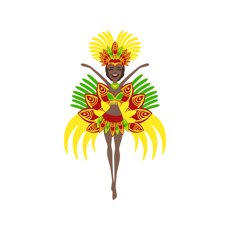 carnival costume: Brazilian Carnival Costume Flat Isolated Colorful Vector Design Illustration On White Background