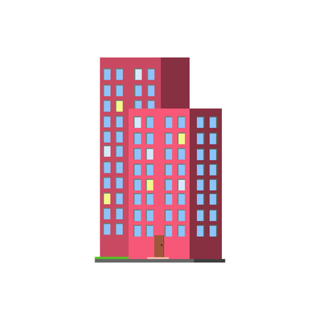 condominium: Tall Condominium Building Vector Design Simple Graphic Illustration On White Background