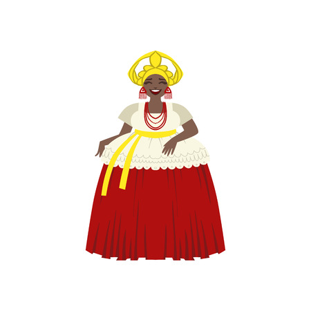 national costume: Brazilian Woman In National Costume Flat Isolated Colorful Vector Design Illustration On White Background Illustration