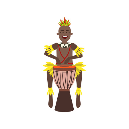 indigenous: Black Man In Indigenous Brazilian Costume Flat Isolated Colorful Vector Design Illustration On White Background