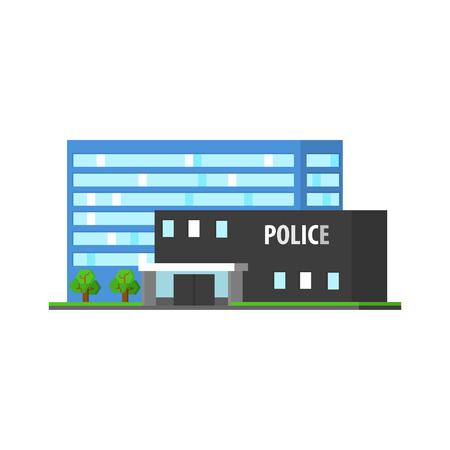 mega city: City Police Station Vector Design Simple Graphic Illustration On White Background