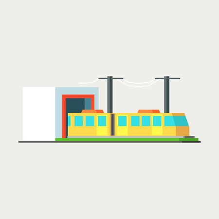 mega city: Metro Train Exiting Tunnel Vector Design Simple Graphic Illustration On White Background