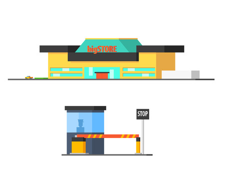 mega city: Shopping Mall And Checkpoint Vector Design Simple Graphic Illustration On White Background Illustration