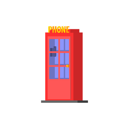 red telephone box: City Public Phone Box Vector Design Simple Graphic Illustration On White Background Illustration