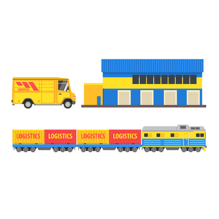 warehouse cargo: Warehouse, Cargo Train And Bus Vector Design Primitive Graphic Illustration On White Background Illustration