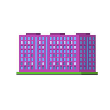 mega city: Big Purple Condiminium Vector Design Simple Graphic Illustration On White Background