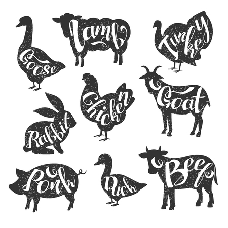 stamp collection: Farm Animals Vintage Stamp Collection Of Monochrome Vector Design Labels On White Background