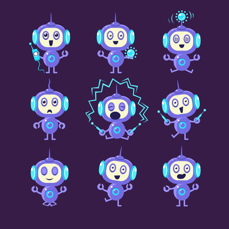 electrocuted: Robot Different Activities Set Of Flat Childish Cartoon Style Vector Drawings Isolated On Dark Background