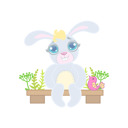 girly: Bunny Sitting On Garden Bench Illustration In Cute Girly Cartoon Style Isolated On White Background Illustration