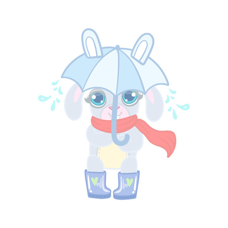 girly: Bunny With Umbrella Under Rain Illustration In Cute Girly Cartoon Style Isolated On White Background