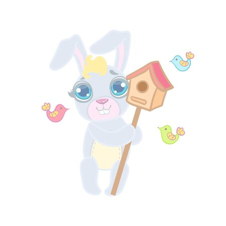 girly: Bunny With The Bird House Illustration In Cute Girly Cartoon Style Isolated On White Background
