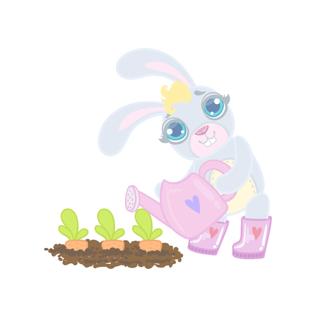 girly: Bunny Planting The Carrots Illustration In Cute Girly Cartoon Style Isolated On White Background