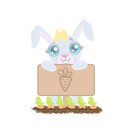 girly: Bunny Growing The Carrots Illustration In Cute Girly Cartoon Style Isolated On White Background