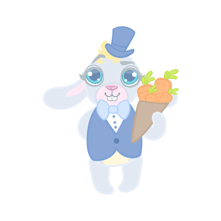 girly: Bunny Dressed In Suit On Date Illustration In Cute Girly Cartoon Style Isolated On White Background