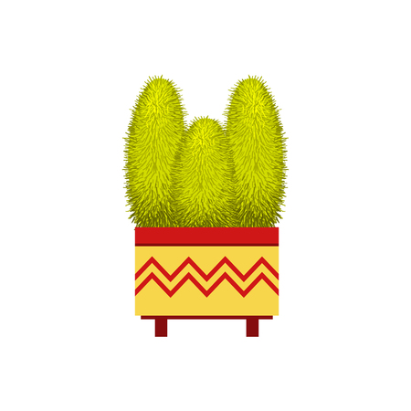 tall: Three Tall Cacti In A Pot Flat Cartoon Childish Style  Vector Icon Isolated On White Background