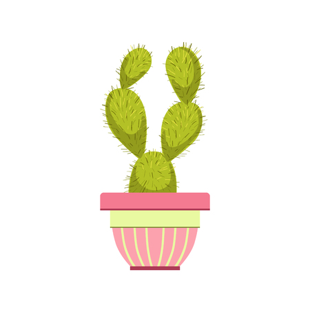 multiple house: Cactus In Pink Pot Flat Cartoon Childish Style  Vector Icon Isolated On White Background