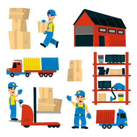storehouse: Set Of Illustrations With Storehouse Workers In Simplified Flat Vector Design On White Background
