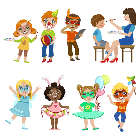 Kids With Painted Faces Set Of Bright Color Cartoon Childish Style Flat Vector Drawings Isolated On White Background Illustration