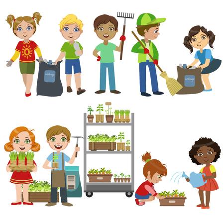 Crianças, jardinagem e pegar o conjunto de lixo de cor brilhante Ilustrações simples do vetor de estilo plana, sobre fundo branco