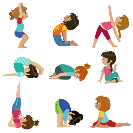 physical education: Little Girls Doing Yoga Set Of Bright Color Cartoon Childish Style Flat Vector Drawings Isolated On White Background Illustration