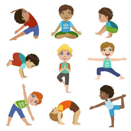 Kleine Jungen tun Yoga Reihe von hellen Farben-Karikatur Kindisch Stil Flache Vektor-Zeichnungen auf weißem Hintergrund isoliert Standard-Bild - 56957047