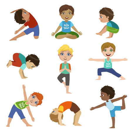 Niños pequeños que hacen yoga Conjunto De brillante color de dibujos animados infantiles plana del estilo de dibujos del vector aislados sobre fondo blanco