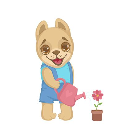 girly: Puppy Watering Flowers Colorful Illustration In Cute Girly Cartoon Style Isolated On White Background