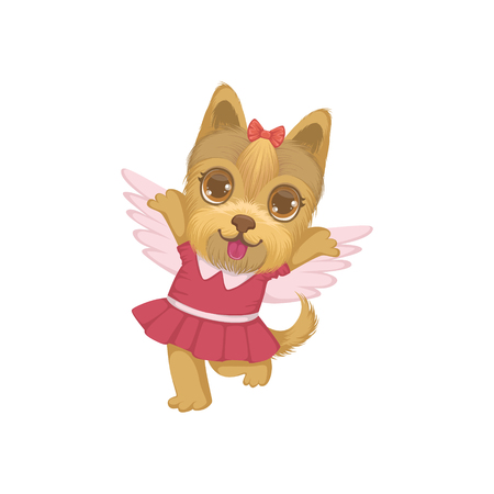 girly: Puppy With The Wings Colorful Illustration In Cute Girly Cartoon Style Isolated On White Background