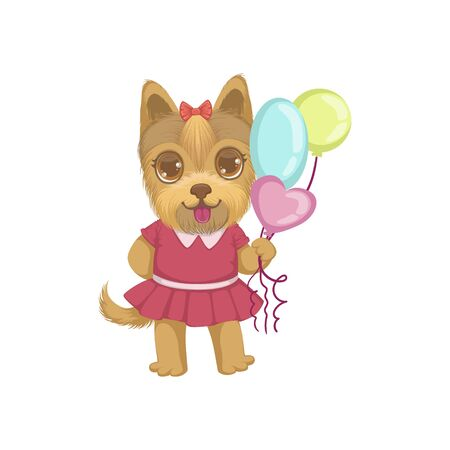 girly: Puppy Holding Balloons Colorful Illustration In Cute Girly Cartoon Style Isolated On White Background