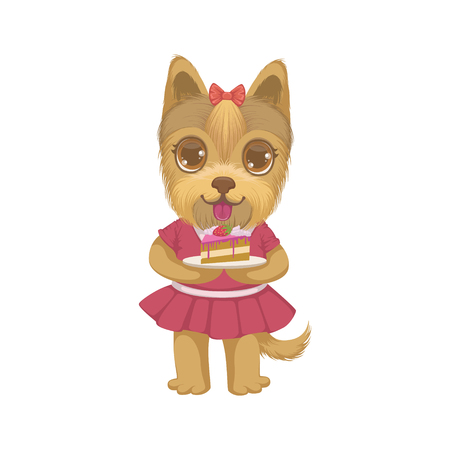 piece of cake: Puppy Holding A Piece Of Cake Colorful Illustration In Cute Girly Cartoon Style Isolated On White Background Illustration