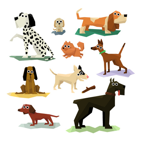 simplified: Different Dog Breeds Set Of Bright Color Simplified Geometric Style Flat Vector Illustrations On White Background