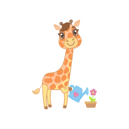 outlined isolated: Giraffe Watering The Flowers Outlined Flat Vector Illustration In Cute Girly Cartoon Style Isolated On White Background Illustration