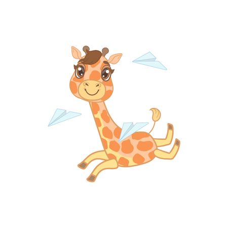 outlined isolated: Giraffe Playing With Paper Planes Outlined Flat Vector Illustration In Cute Girly Cartoon Style Isolated On White Background