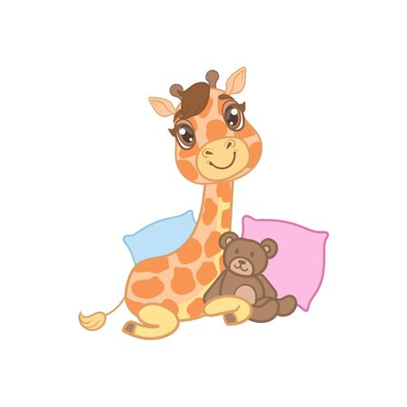 outlined isolated: Giraffe With Teddy Bear Outlined Flat Vector Illustration In Cute Girly Cartoon Style Isolated On White Background Illustration