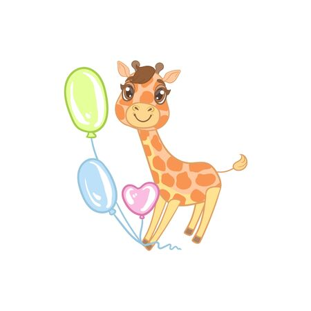 girly: Giraffe With Balloons Outlined Flat Vector Illustration In Cute Girly Cartoon Style Isolated On White Background
