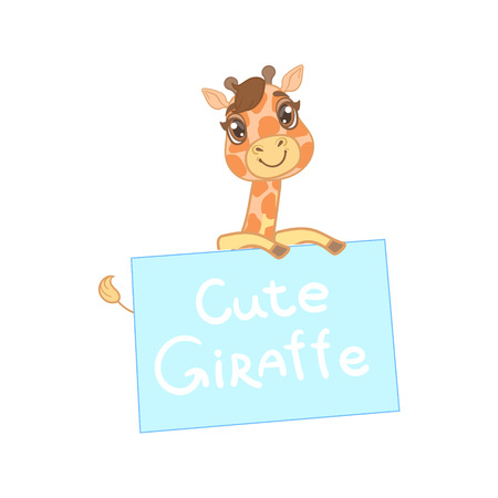 holing: Giraffe Behind A Paper Banner Outlined Flat Vector Illustration In Cute Girly Cartoon Style Isolated On White Background