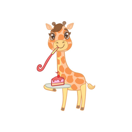 outlined isolated: Giraffe With Slice Of Cake Outlined Flat Vector Illustration In Cute Girly Cartoon Style Isolated On White Background Illustration