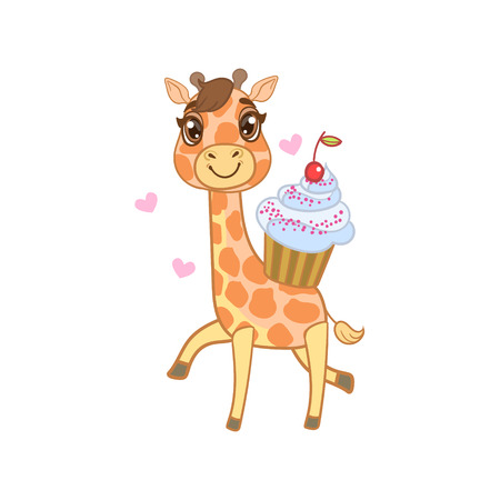 girly: Giraffe With Cupcake Outlined Flat Vector Illustration In Cute Girly Cartoon Style Isolated On White Background Illustration