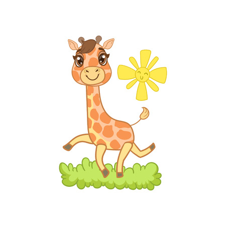 outlined isolated: Giraffe Walking Outside Outlined Flat Vector Illustration In Cute Girly Cartoon Style Isolated On White Background
