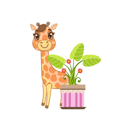 plant stand: Giraffe Behind The Flower In Pot Outlined Flat Vector Illustration In Cute Girly Cartoon Style Isolated On White Background