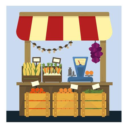 新鮮な野菜フラット シンプルなカラフルなデザインのベクトル図と市場のスタンド  イラスト・ベクター素材