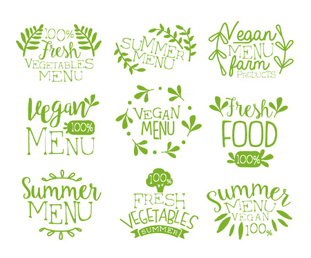stamp collection: Vegan Food Vintage Stamp Collection Of Monochrome Vector Design Labels On White Background
