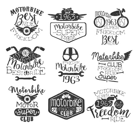 stamp collection: Best Ride Vintage Stamp Collection Of Monochrome Vector Design Labels On White Background