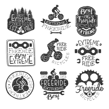 stamp collection: Freeride Bikes Vintage Stamp Collection Of Monochrome Vector Design Labels On White Background